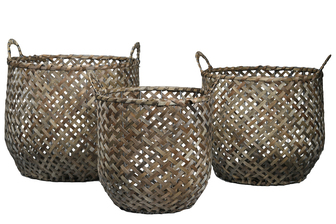 UTC16536 Wood Round Basket with Side Handles and Criss Cross Weave Design Body Set of Three Painted Finish Brown