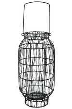 UTC16537 Metal Round Lantern with Top Handle, Lattice Design Body and Candle Glass Holder on Base Painted Finish Black