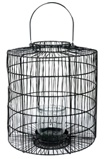 UTC16538 Metal Round Lantern with Top Handle, Narrow Mouth, Lattice Design Body and Candle Glass Holder Painted Finish Black