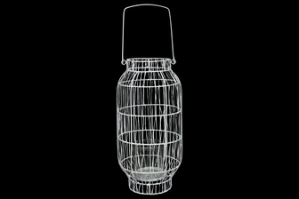 UTC16539 Metal Round Lantern with Top Handle, Lattice Design Body, Candle Glass Holder and Tapered Bottom Painted Finish White