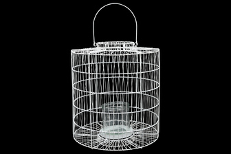 UTC16540 Metal Round Lantern with Top Handle, Narrow Mouth, Lattice Design Body and Candle Glass Holder Painted Finish White