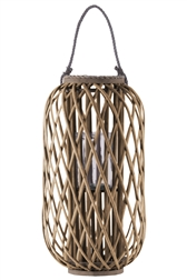 "UTC16560 Bamboo Round 23.50"" Lantern with Braided Rope Lip and Handle, Lattice Design Body and Hurricane Candle Holder Natural Finish Brown"