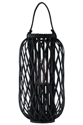 "UTC16561 Bamboo Round 23.50"" Lantern with Braided Rope Lip and Handle, Lattice Design Body and Hurricane Candle Holder Coated Finish Black"