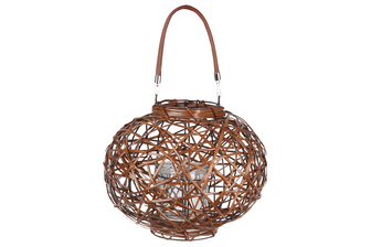 UTC16600 Rattan Round Lantern with Leather Top Removable Handle, Glass Candle Holder on Metal Frame and Interspersed Design Body LG Varnished Finish Brown