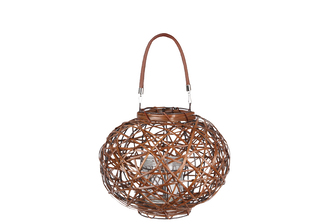 UTC16601 Rattan Round Lantern with Leather Top Removable Handle, Glass Candle Holder on Metal Frame and Interspersed Design Body SM Varnished Finish Brown