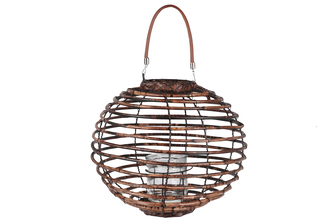 UTC16602 Rattan Round Lantern with Leather Top Removable Handle, Glass Candle Holder on Metal Frame and Spiral Design Body LG Varnished Finish Dark Brown