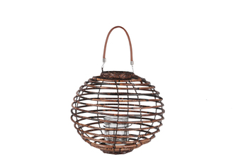 UTC16603 Rattan Round Lantern with Leather Top Removable Handle, Glass Candle Holder on Metal Frame and Spiral Design Body SM Varnished Finish Dark Brown