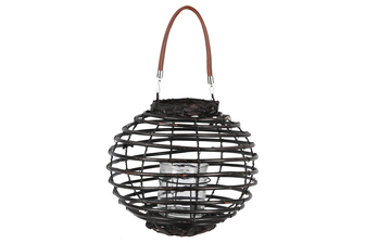 UTC16604 Rattan Round Lantern with Leather Top Removable Handle, Glass Candle Holder on Metal Frame and Spiral Design Body LG Painted Finish Black