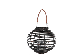 UTC16605 Rattan Round Lantern with Leather Top Removable Handle, Glass Candle Holder on Metal Frame and Spiral Design Body SM Painted Finish Black