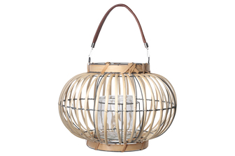 UTC16606 Rattan Round Lantern with Leather Top Removable Handle, Glass Candle Holder on Metal Frame and Vertical Lattice Design Body LG Natural Finish Tan
