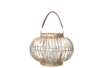 UTC16607 Rattan Round Lantern with Leather Top Removable Handle, Glass Candle Holder on Metal Frame and Vertical Lines Design Body SM Natural Finish Tan