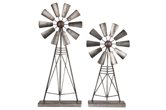 UTC16700 Metal Windmill Ornament with Rectangular Base Set of Two Tarnished Finish Gray