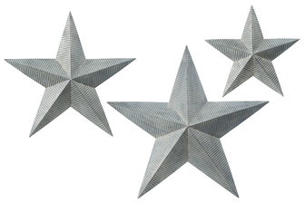 UTC16702 Metal Star Wall Decor with Corrugated Design body and Keyhole Back Hanger Set of Three Galvanized Finish Gray