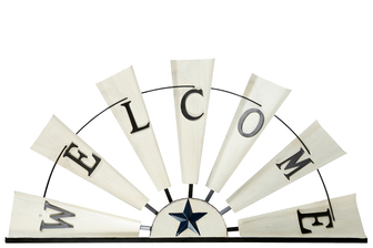 "UTC16703 Metal Wall Decor with ""Welcome"" Writing on Half Windmill Design Distressed Finish Off White"