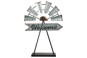 "UTC16705 Metal Windmill Ornament with ""Welcome"" Sign in Cursive Writing Design, Rustic Edges on Base Stand Galvanized Finish Gray"