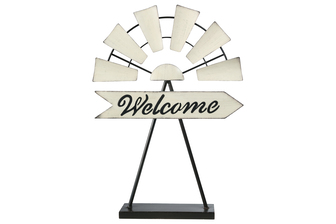 "UTC16706 Metal Windmill Ornament with ""Welcome"" Sign in Cursive Writing Design on Base Stand Painted Finish Off White"