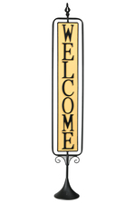 "UTC16707 Metal Rectangle Signage with Rotating ""Welcome"" in Vertical Writing on Black Stand Base Coated Finish Yellow"