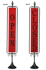 "UTC16708 Metal Rectangle Signage with Rotating ""OPEN and CLOSE"" in Vertical Writing on Black Stand Base Coated Finish Red"