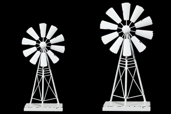 UTC16709 Metal Windmill Ornament with Distressed Edges on Rectangular Base Set of Two Coated Finish White