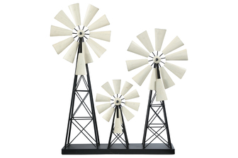 UTC16710 Metal Windmill Ornament with Distressed White Wheel Design on Rectangular Base Painted Finish Black