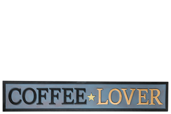 "UTC16712 Metal Rectangle Wall Art with Embossed Writing ""Coffee Lover"" Painted Finish Polychromatic"
