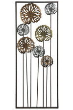 UTC16713 Metal Rectangle Wall Art with Silver Gold Sunflower Design Painted Finish Black