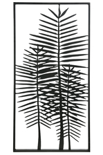 UTC16714 Metal Rectangle Wall Art with Palm Tree Design Coated Finish Black