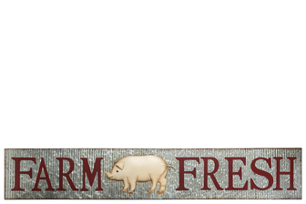 "UTC16715 Metal Rectangle Wall Art with Embossed ""Farm Fresh"" Writing and Rustic Edges Design Galvanized Finish Polychromatic"