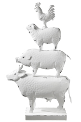 UTC16717 Metal Farm Animals Ornament with Rectangular Base Painted Finish White