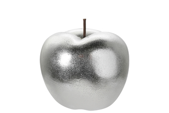 UTC16804 Ceramic Apple Figurine with Stem in Rough Design Body SM Gloss Finish Silver