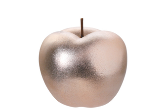 UTC16806 Ceramic Apple Figurine with Stem in Rough Design Body Gloss SM Finish Rose Gold