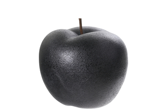UTC16807 Ceramic Apple Figurine with Stem in Rough Design Body SM Gloss Finish Black
