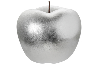 UTC16808 Ceramic Apple Figurine with Stem in Rough Design Body LG Gloss Finish Silver