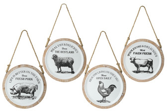 "UTC16901-AST Metal Round Wall Art with Top Rope Hanger and ""Farm House Animal Theme"" on Wood Frame Assortment of Four Painted Finish White"