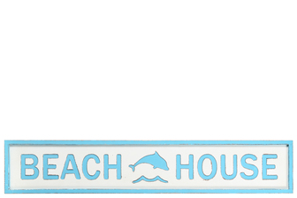"UTC16902 Wood Rectangle Wall Art with Carved ""Beach House"" Writing in Sky Blue Painted Finish White"