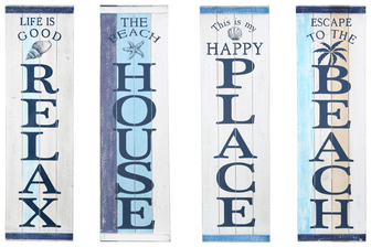 "UTC16904-AST Wood Rectangle Wall Art with ""Coastal Beach Theme"" in Blue Vertical Writing Assortment of Four Distressed Finish Polychromatic"