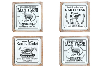 "UTC16905-AST Metal Square Wall Art with Wood Frame and Printed ""Farm House Theme"" Assortment of Four Coated Finish White"