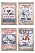"UTC16906-AST Wood Rectangle Wall Art with Frame and ""Farm House Theme"" Printed Assortment of Four Natural Finish Brown"