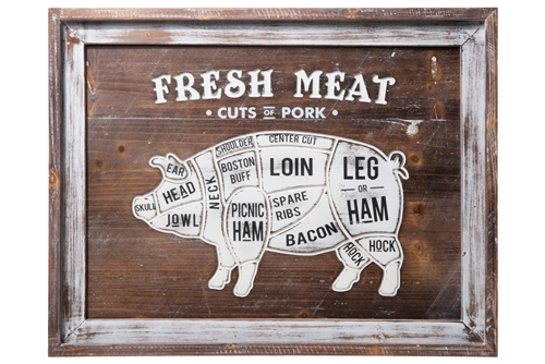 "UTC16908 Wood Rectangle Wall Art with Frame and Printed ""Fresh Meat, Cut of Pork"" Distressed Finish Brown"