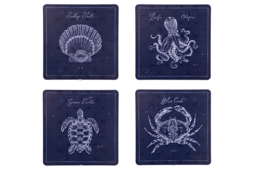 "UTC16909-AST Wood Square Wall Art with Printed ""Marine Animals"" Assortment of Four Painted Finish Navy Blue"