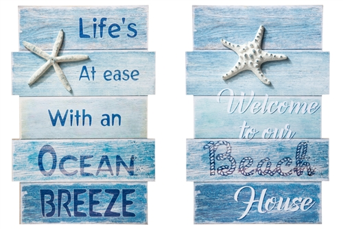 "UTC16910-AST Wood Rectangle Wall Art with Embossed Starfish and ""Beach Quotes"" on Uneven Size Frame Distressed Finish Ocean Blue"