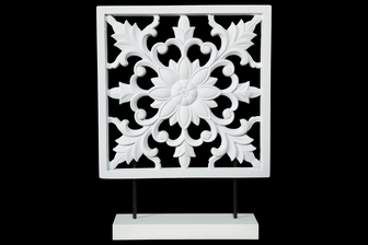 UTC17000 Wood Square Tabletop Ornament with Floral Burst Design on Base Coated Finish White