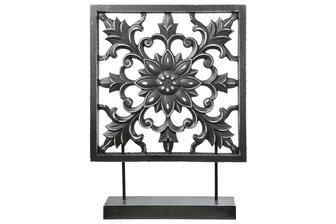 UTC17001 Wood Square Tabletop Ornament with Floral Burst Design Body and Distressed Edges on Base Matte Finish Black