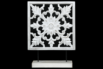 UTC17002 Wood Square Tabletop Ornament with Floral Burst Design Body and Distressed Edges on Base Matte Finish White