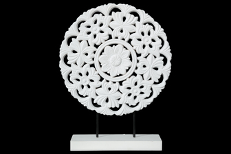 UTC17003 Wood Round Tabletop Ornament with Floral Pattern Design on Base Coated Finish White
