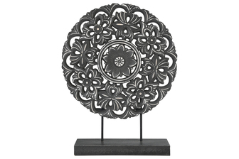 UTC17004 Wood Round Tabletop Ornament with Floral Pattern Design Body and Distressed Edges on Base Matte Finish Black
