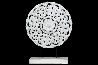 UTC17005 Wood Round Tabletop Ornament with Floral Pattern Design Body and Distressed Edges on Base Matte Finish White