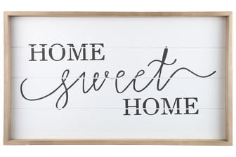 "UTC17100 Wood Rectangle Wall Art with Frame, Printed ""HOME SWEET HOME"" and Metal Sawtooth Back Hangers Smooth Finish White"
