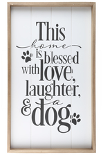 "UTC17101 Wood Rectangle Wall Art with Frame, Printed ""ANIMAL LOVERS QUOTE"" and Metal Sawtooth Back Hangers Smooth Finish White"