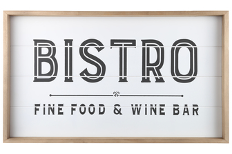 "UTC17102 Wood Rectangle Wall Art with Frame, Printed ""BISTRO"" and Metal Sawtooth Back Hangers Smooth Finish White"